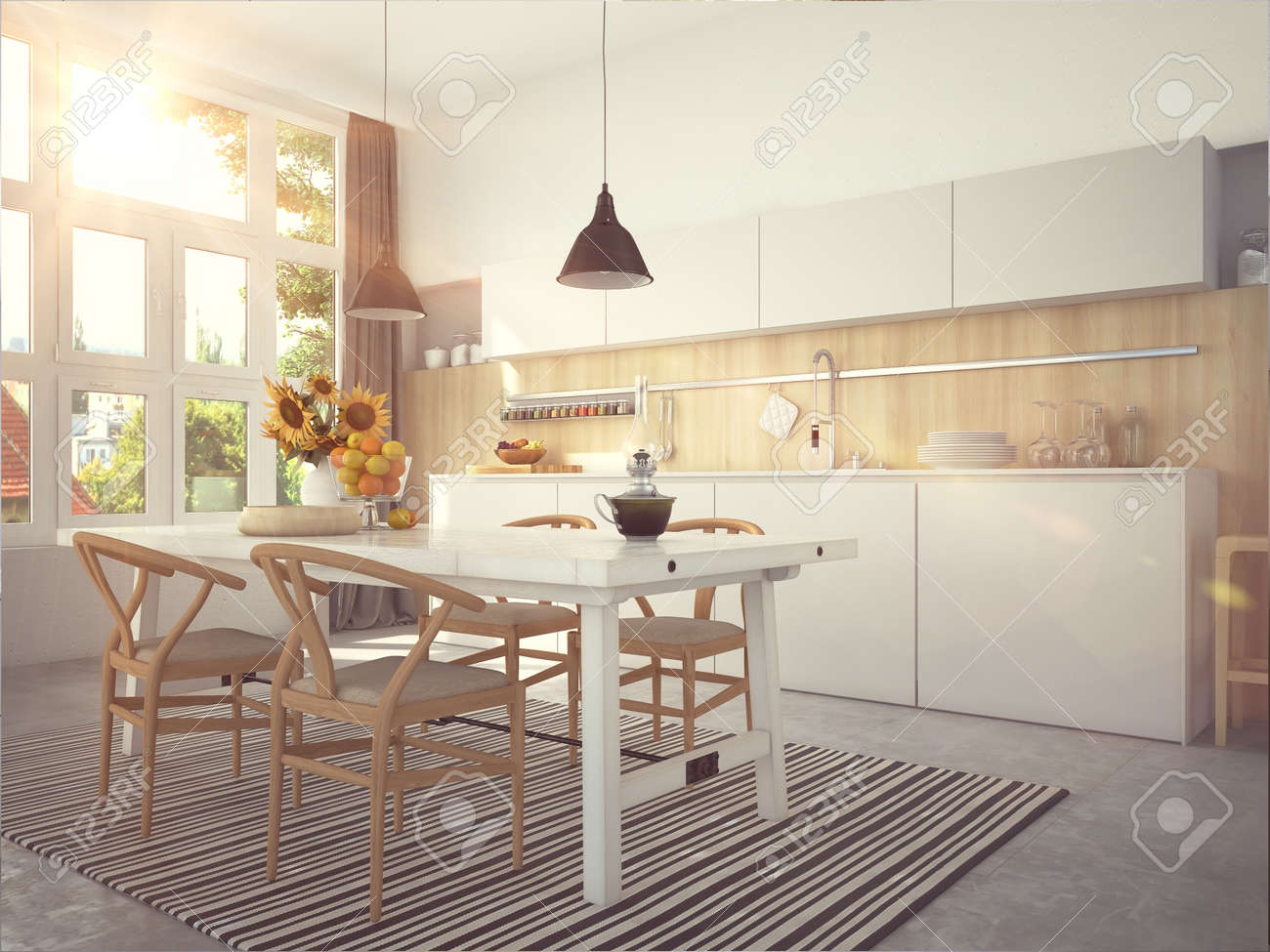 Kitchen and living room of loft apartment - 61606972