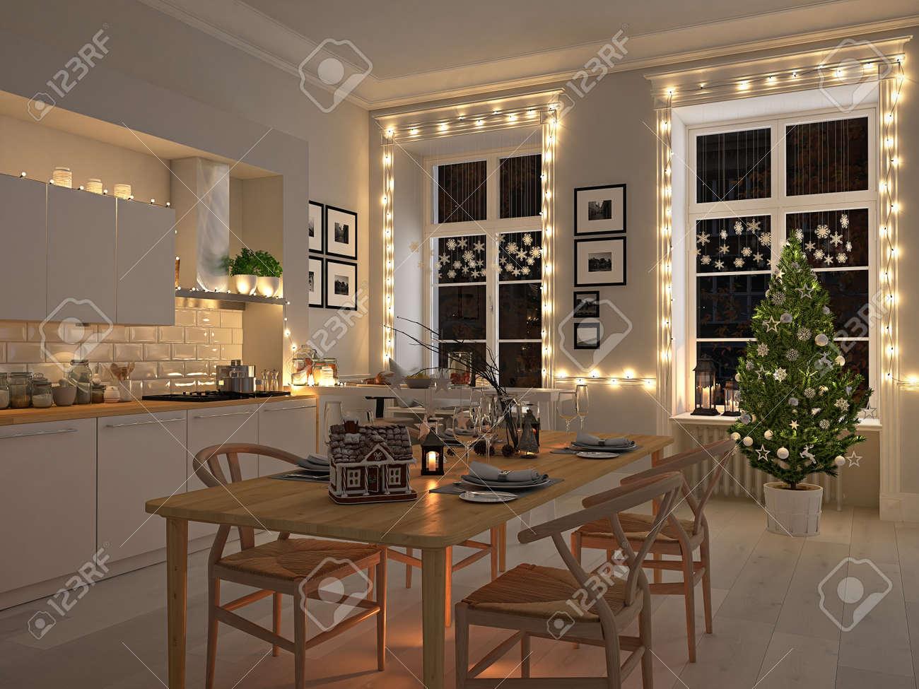 Rendu 18d. cuisine nordique avec décoration de Noël.