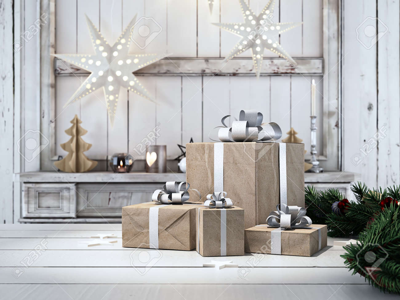 3d rendering. beautiful gift with Christmas ornaments - 64646616