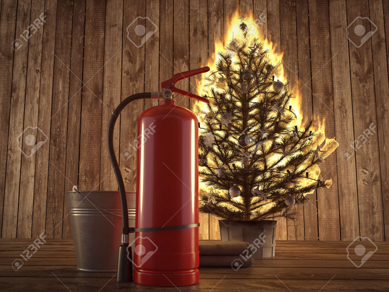 Burning Christmas Tree.3d Rendering Burning Christmas Tree With Fire Extinguisher And