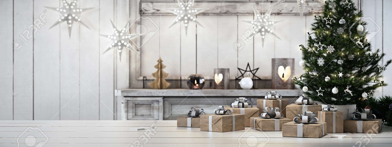 3d rendering. beautiful gift with Christmas ornaments - 64646626