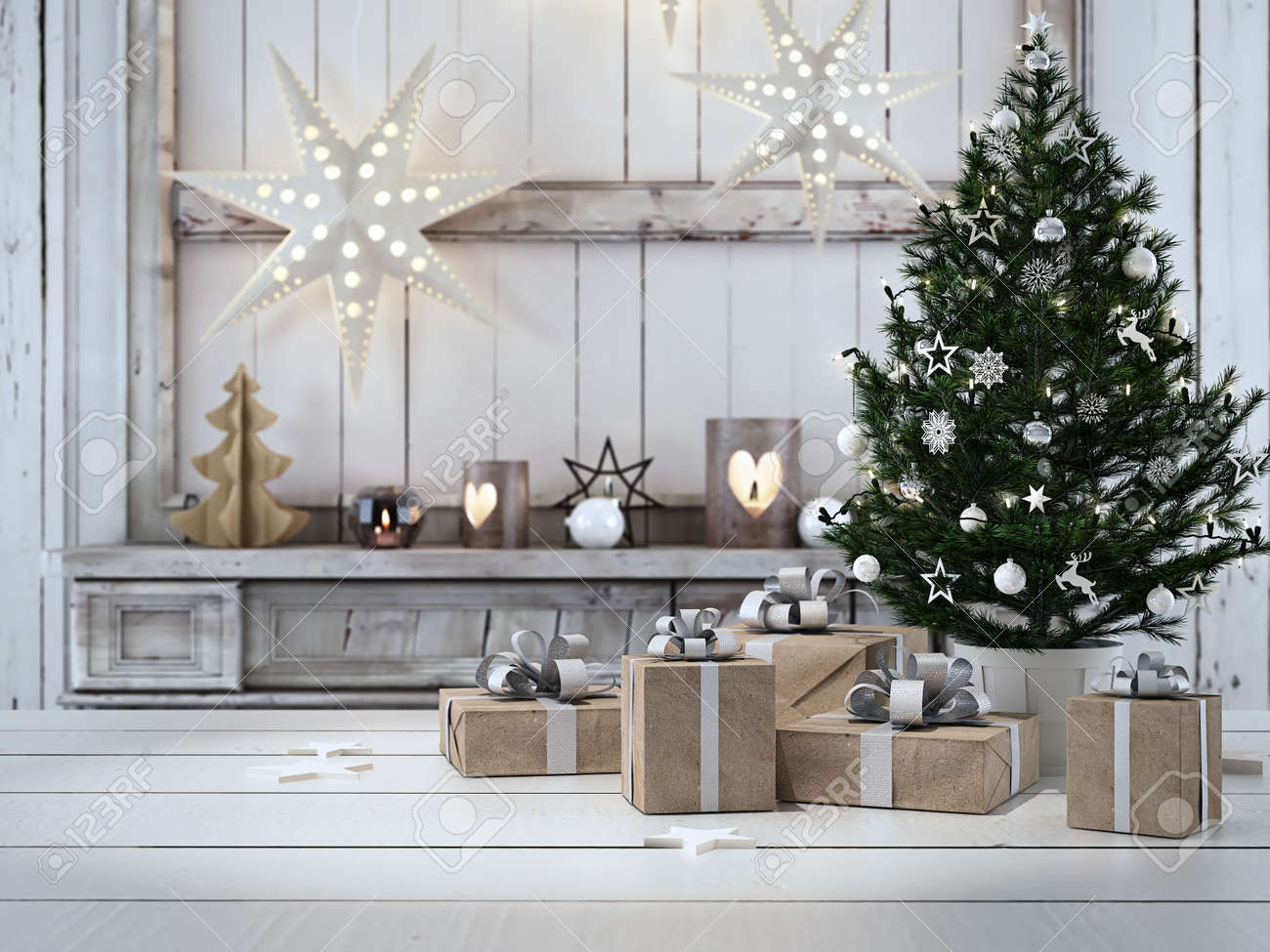 3d rendering. beautiful gift with Christmas ornaments - 64646628