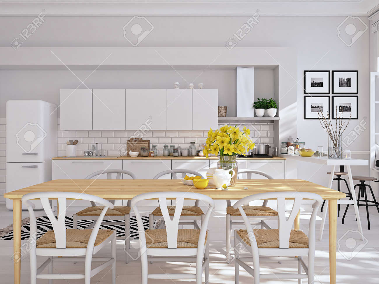 Nordische Küche | Moderne Nordische Kuche In Loft Wohnung 3d Rendering Lizenzfreie