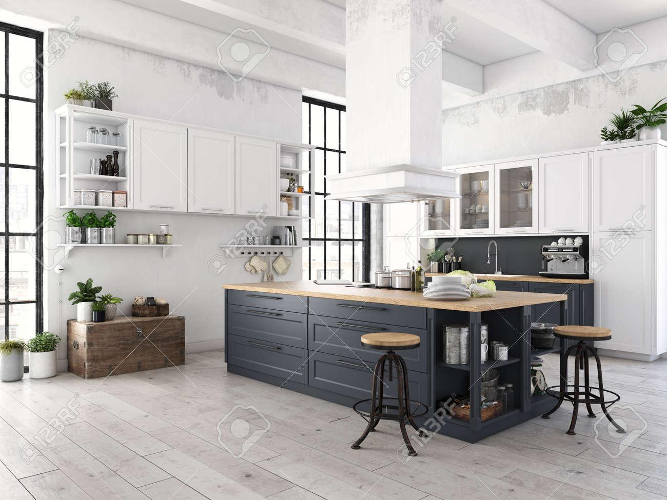 Moderne nordische küche in loft wohnung d rendering lizenzfreie