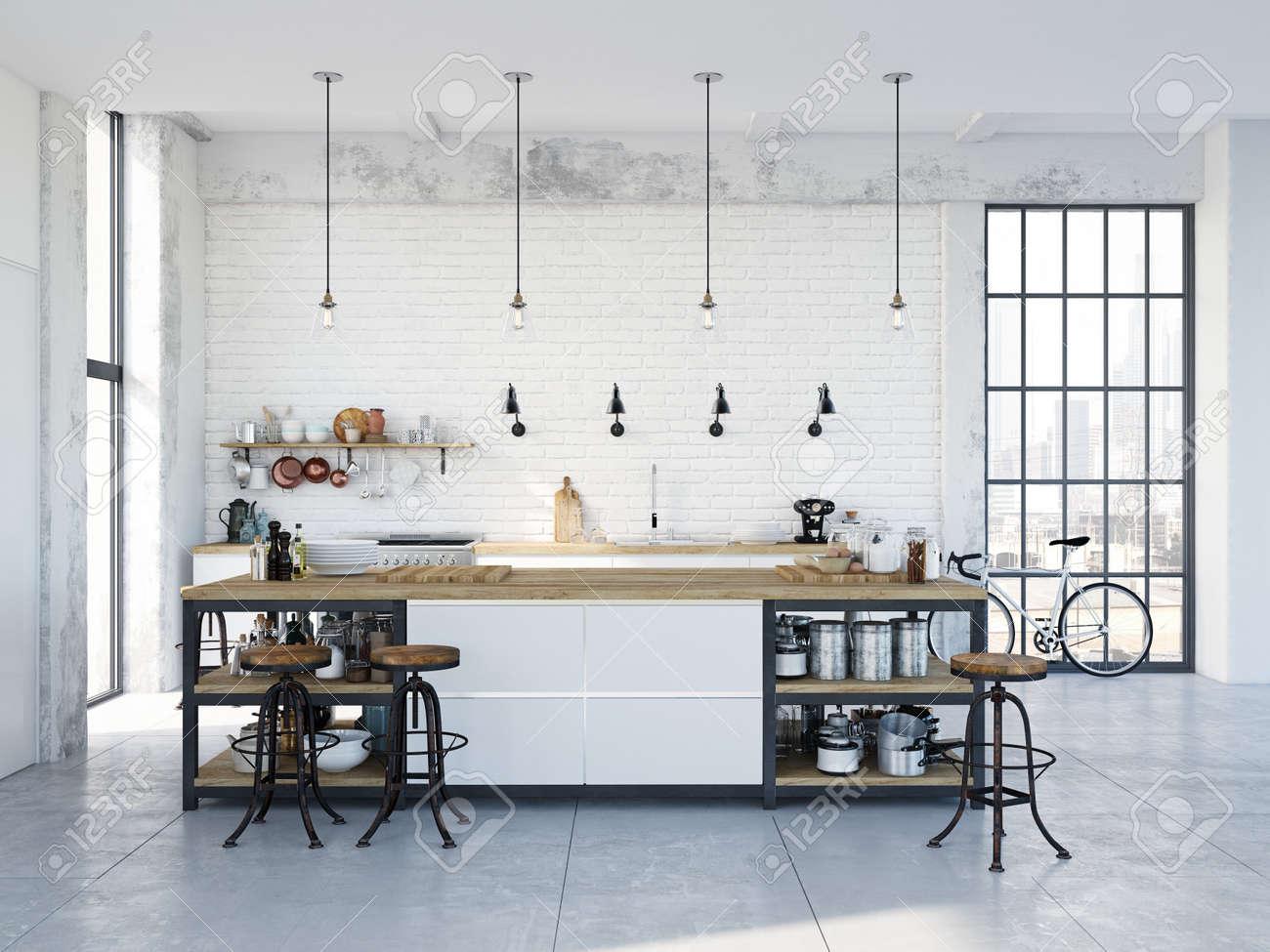 modern nordic kitchen in loft apartment. 3D rendering - 79134046