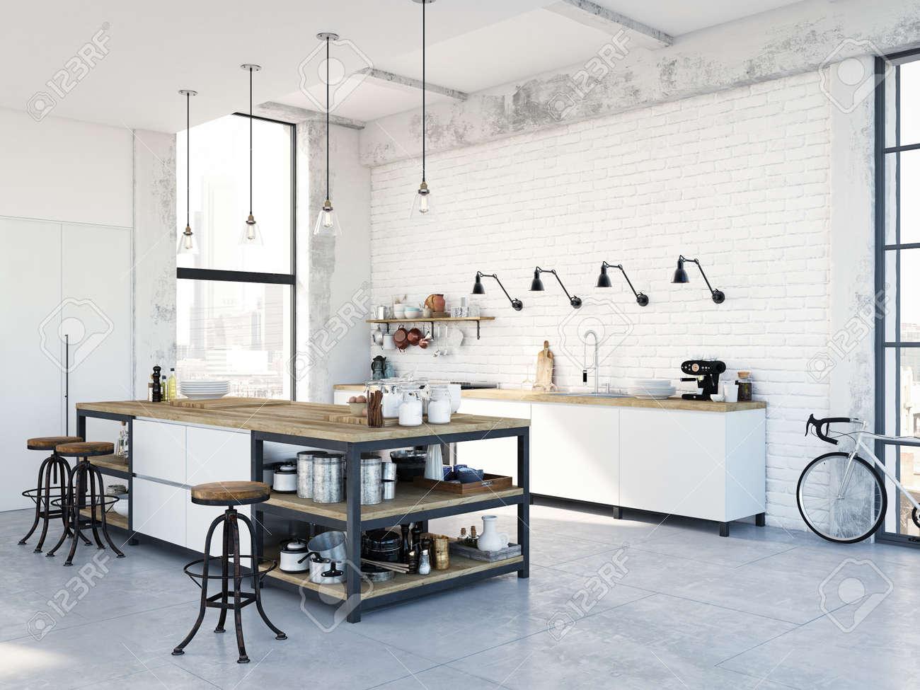 modern nordic kitchen in loft apartment. 3D rendering - 79134047