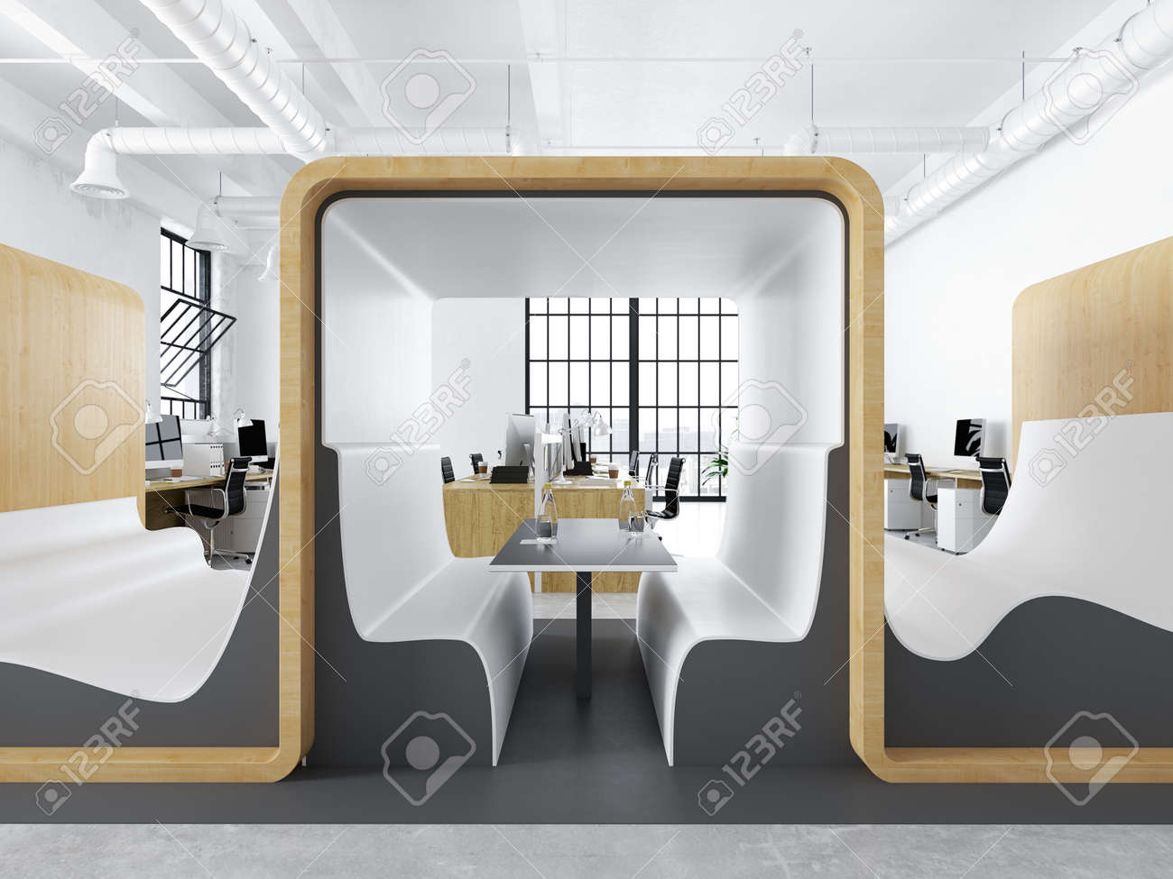 modern office with creative spaces. 3d rendering - 79660785