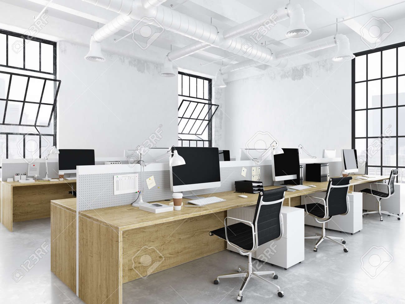 Modern Office With Creative Spaces. 3d Rendering Stock Photo, Picture And Royalty Free Image. Image 79660786.
