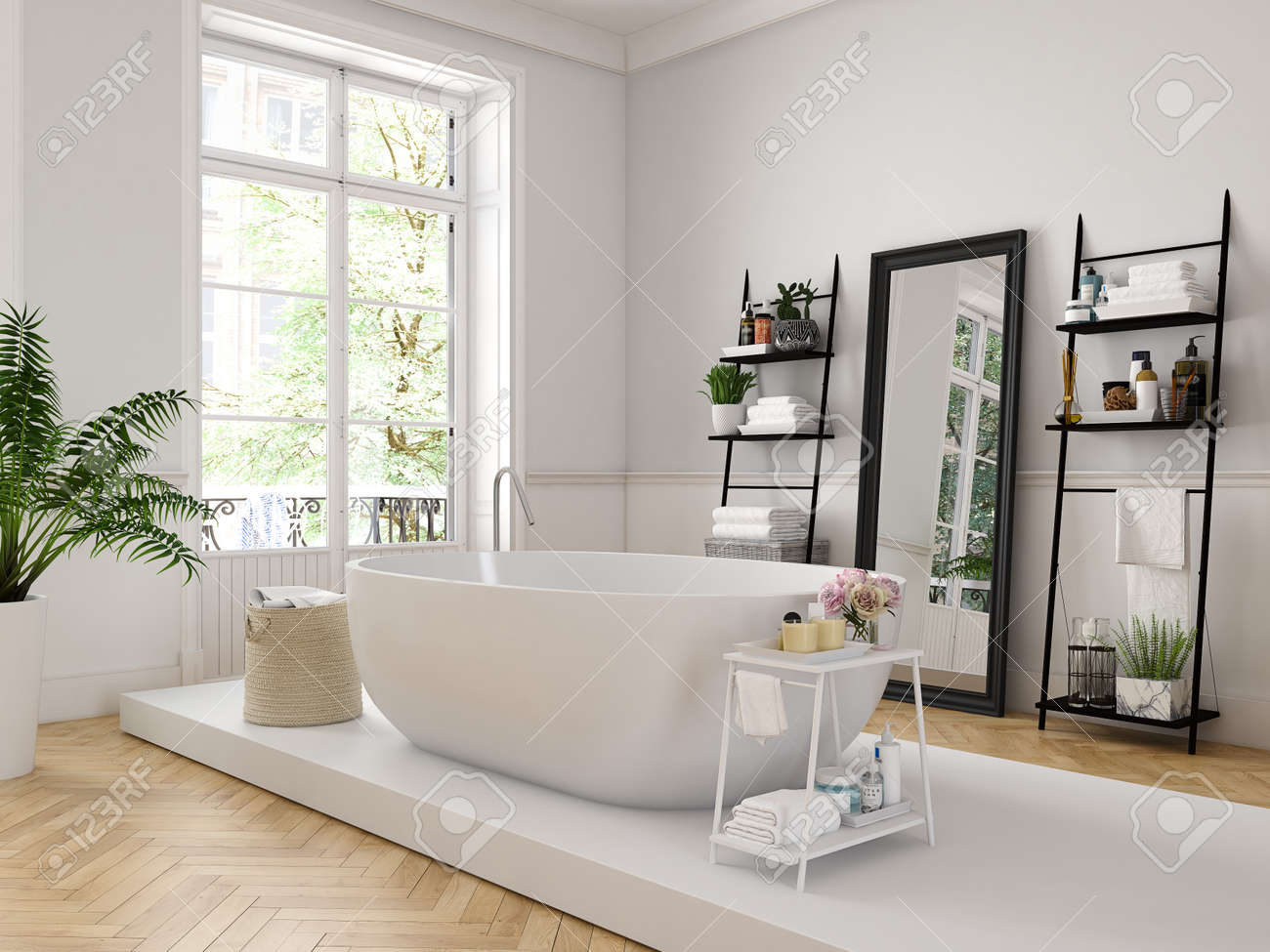 3d rendering. classic luxury bathroom with a white bathtube. - 83310357
