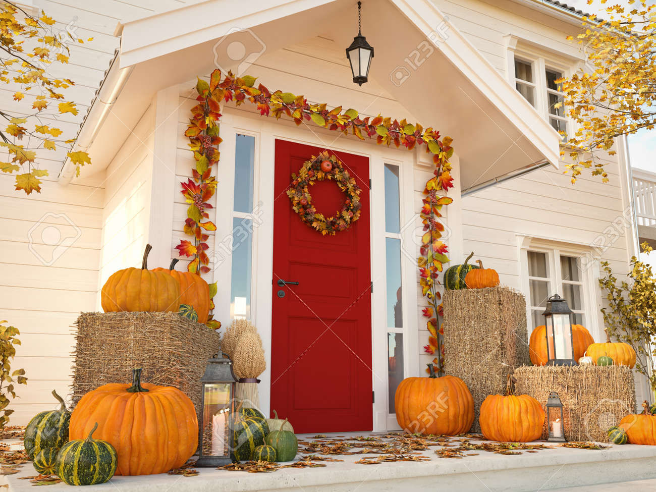 autumn decorated house with pumpkins and hay. 3d rendering - 88200344