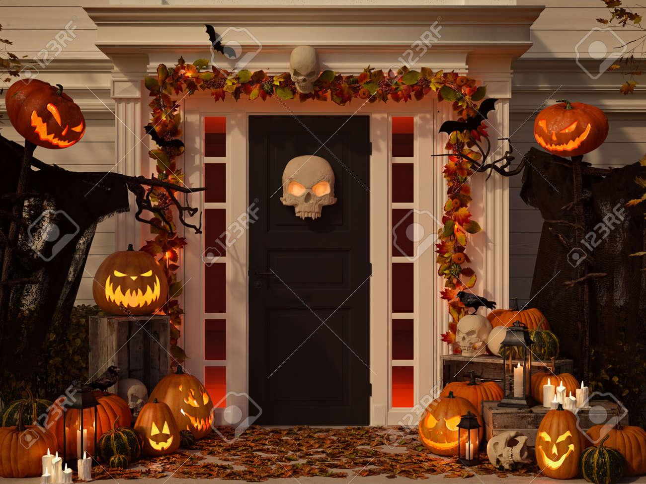casa decorada de halloween con calabazas y escudos representacin 3d foto de archivo 88262027