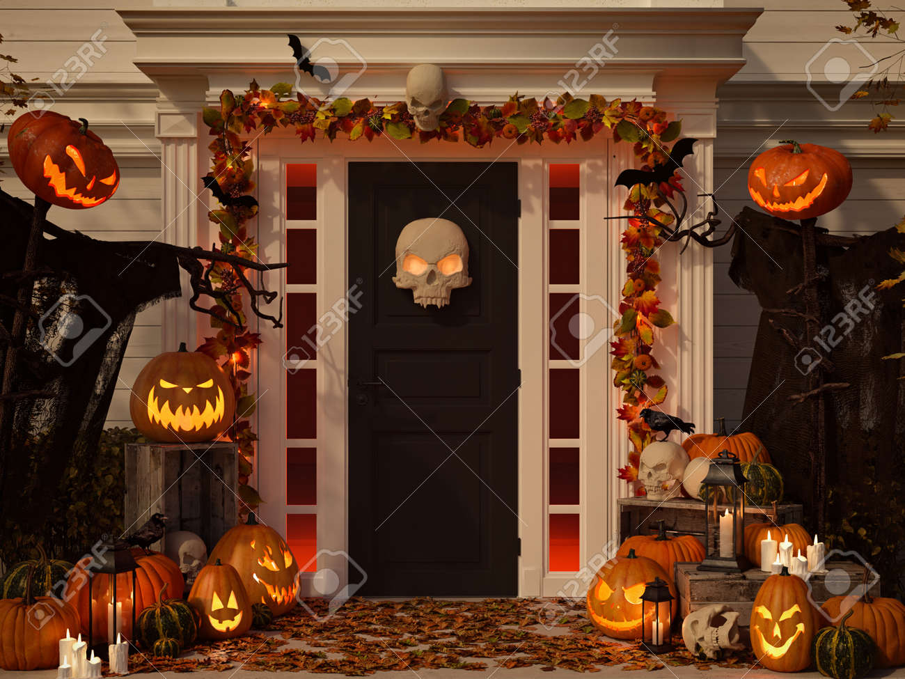 halloween decorated house with pumpkins and skulls. 3d rendering - 88262027