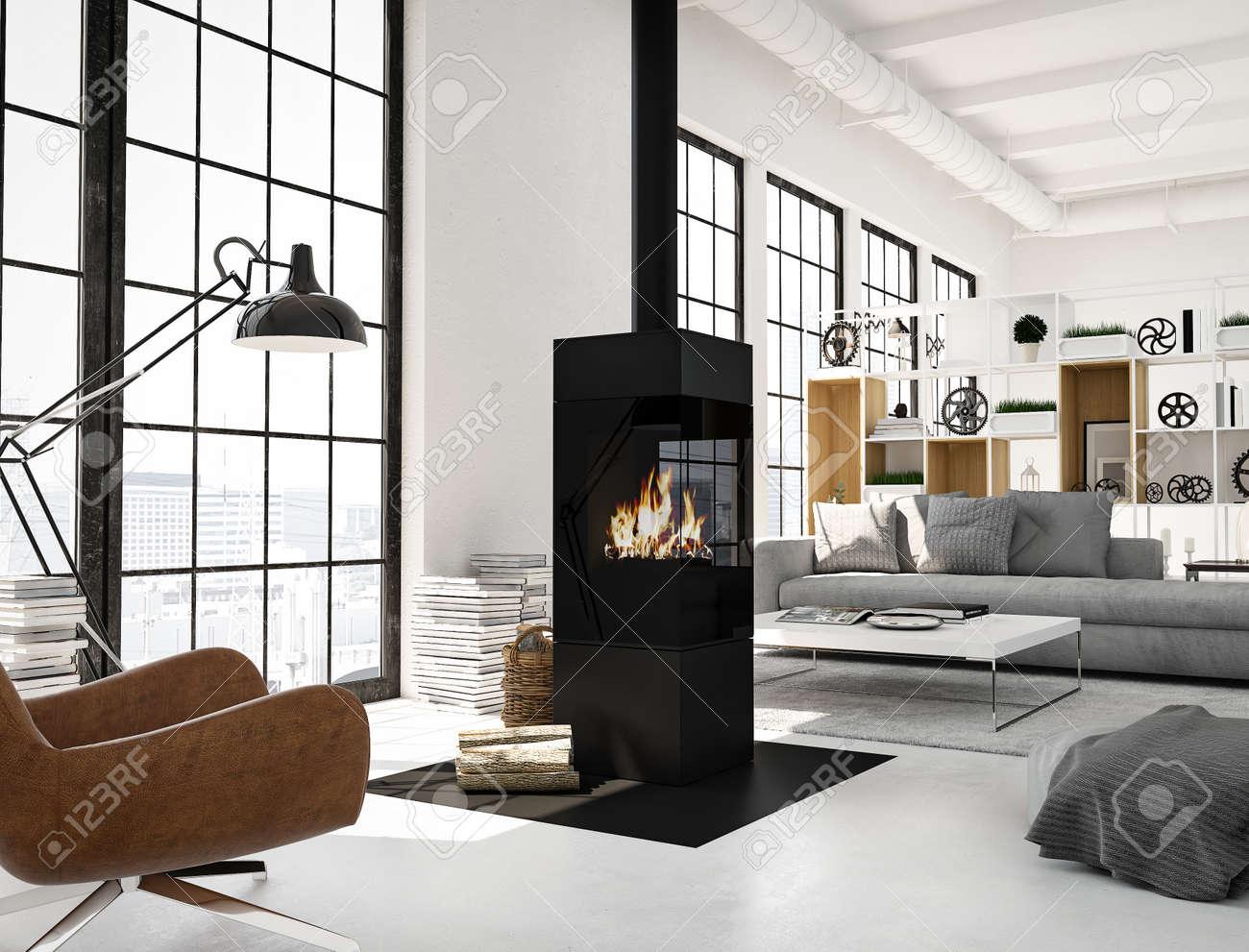 3d rendu salon avec cheminée dans le grenier moderne de salon de séjour