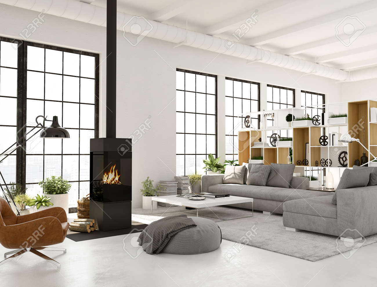 3d Rendering Living Room With Fireplace In Modern Loft Apartment