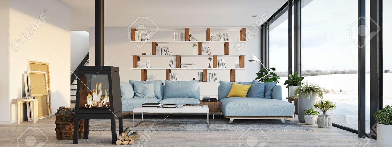 Soggiorno Con Camino In Appartamento Moderno Loft. Rendering 3d Foto ...
