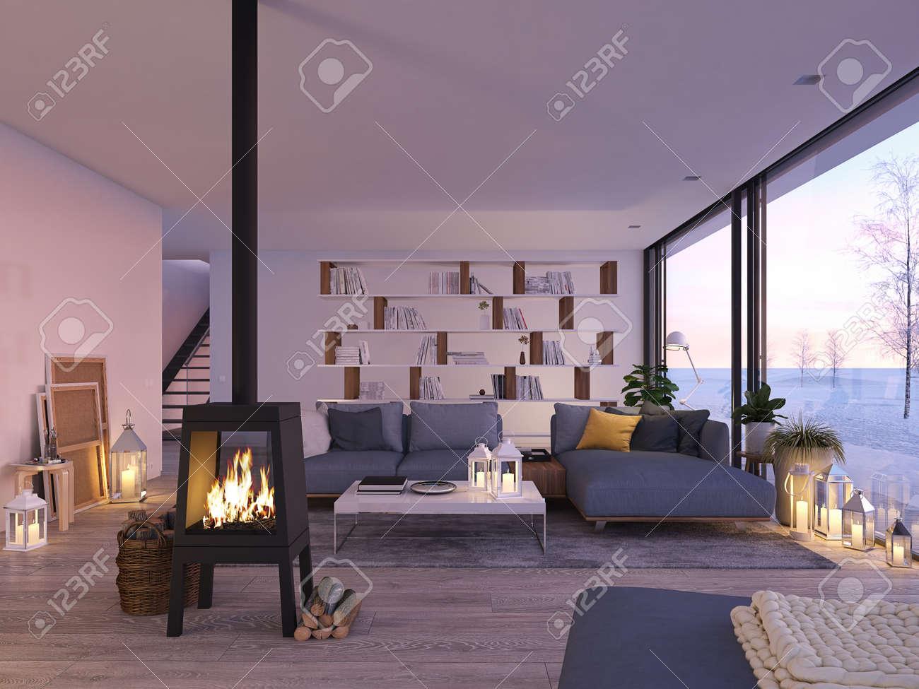 3d Rendu Salon Avec Cheminée De Fer à Laver Dans Le Grenier Moderne ...