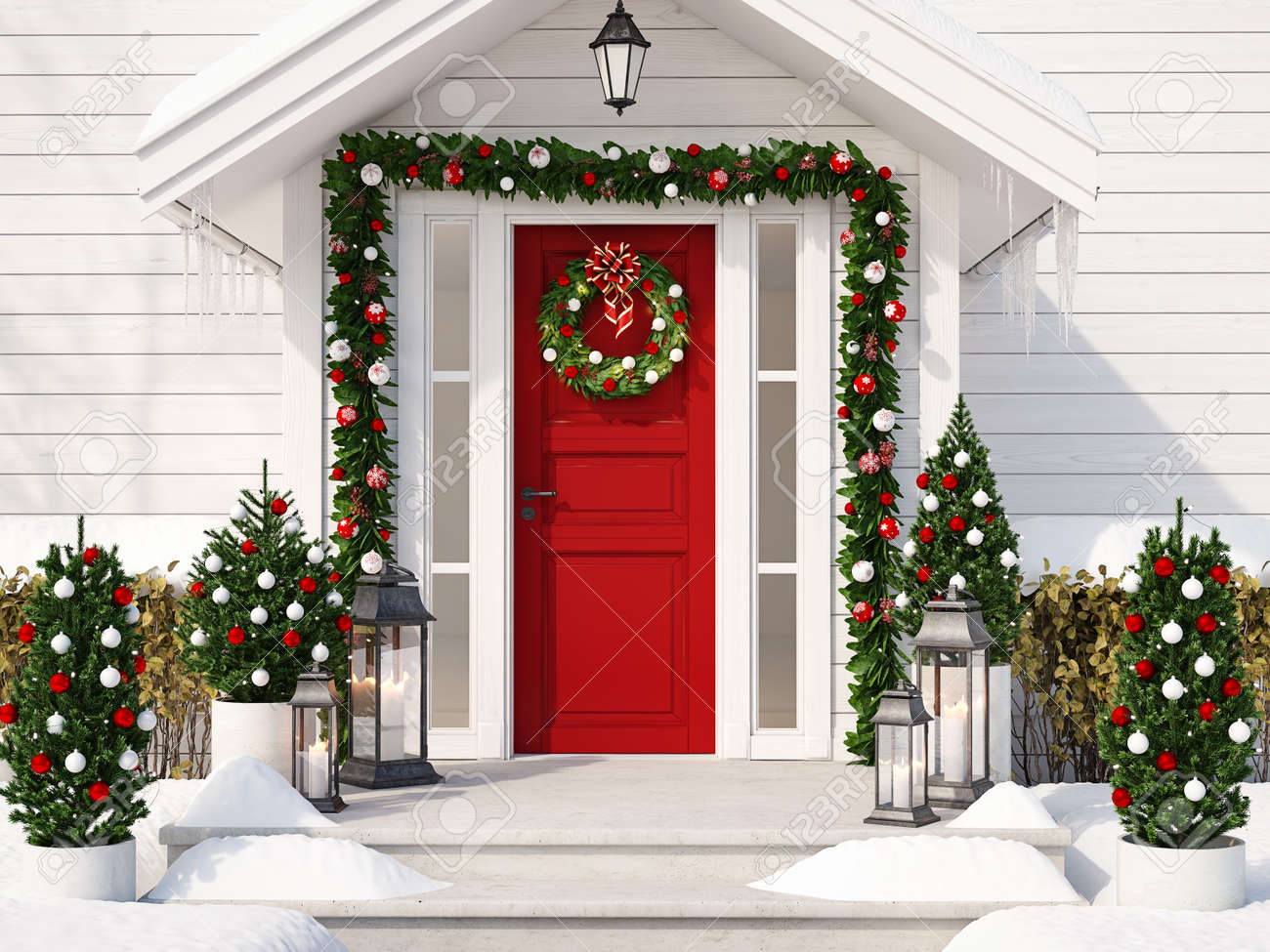 Christmas decorated porch with little trees and lanterns. 3d rendering - 89060798