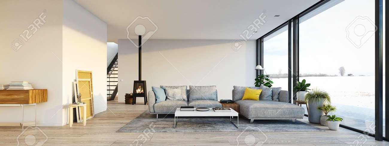 Rendu 3D Salon Avec Cheminée En Fonte Dans Loft Moderne. Banque D ...