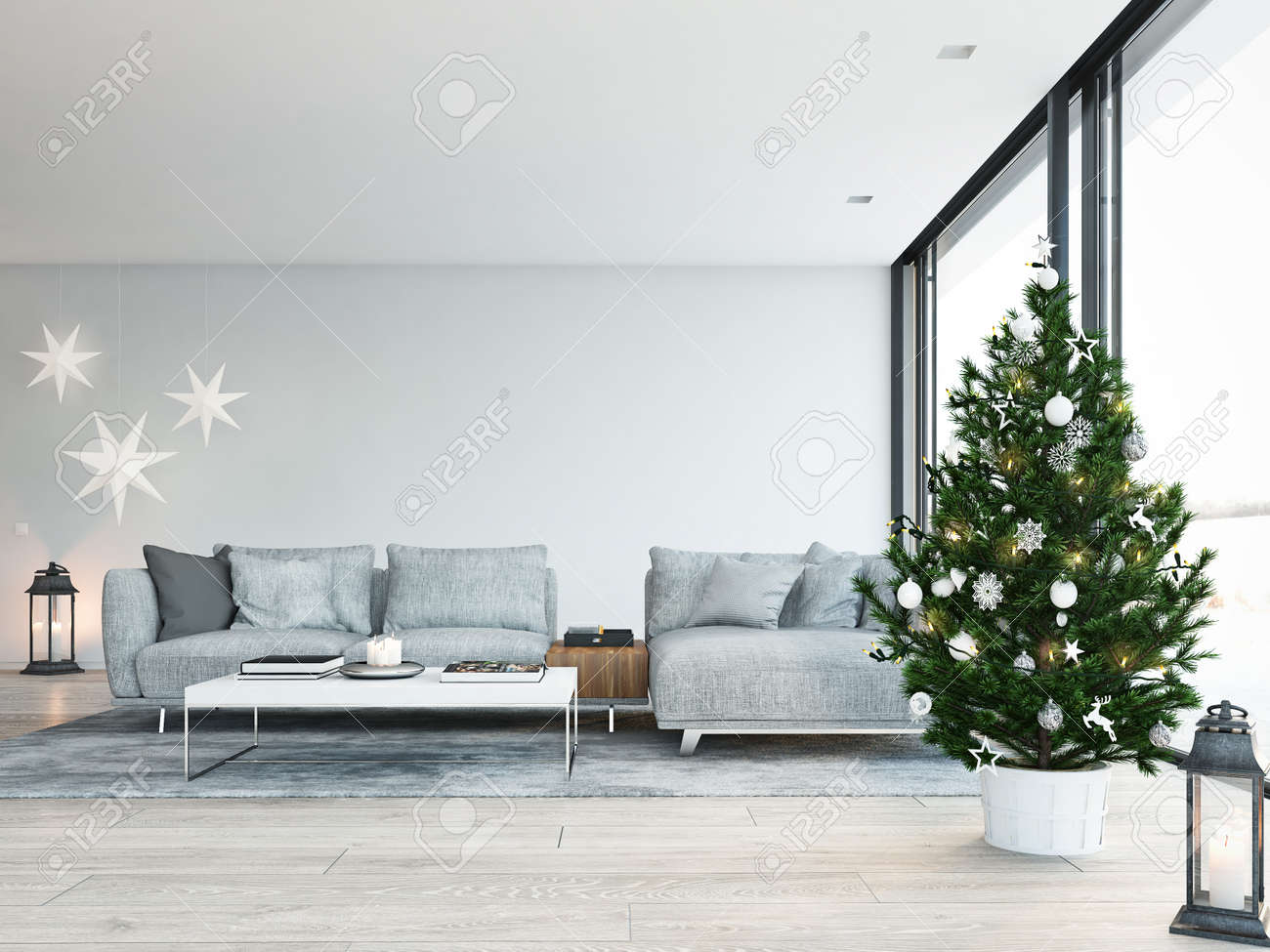 3d rendering. home with christmastree in modern apartment. christmas decoration. - 89770032