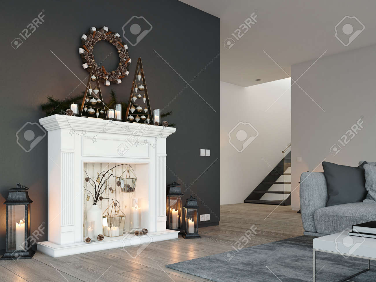 3d rendering. home with fireplace in modern apartment. christmas
