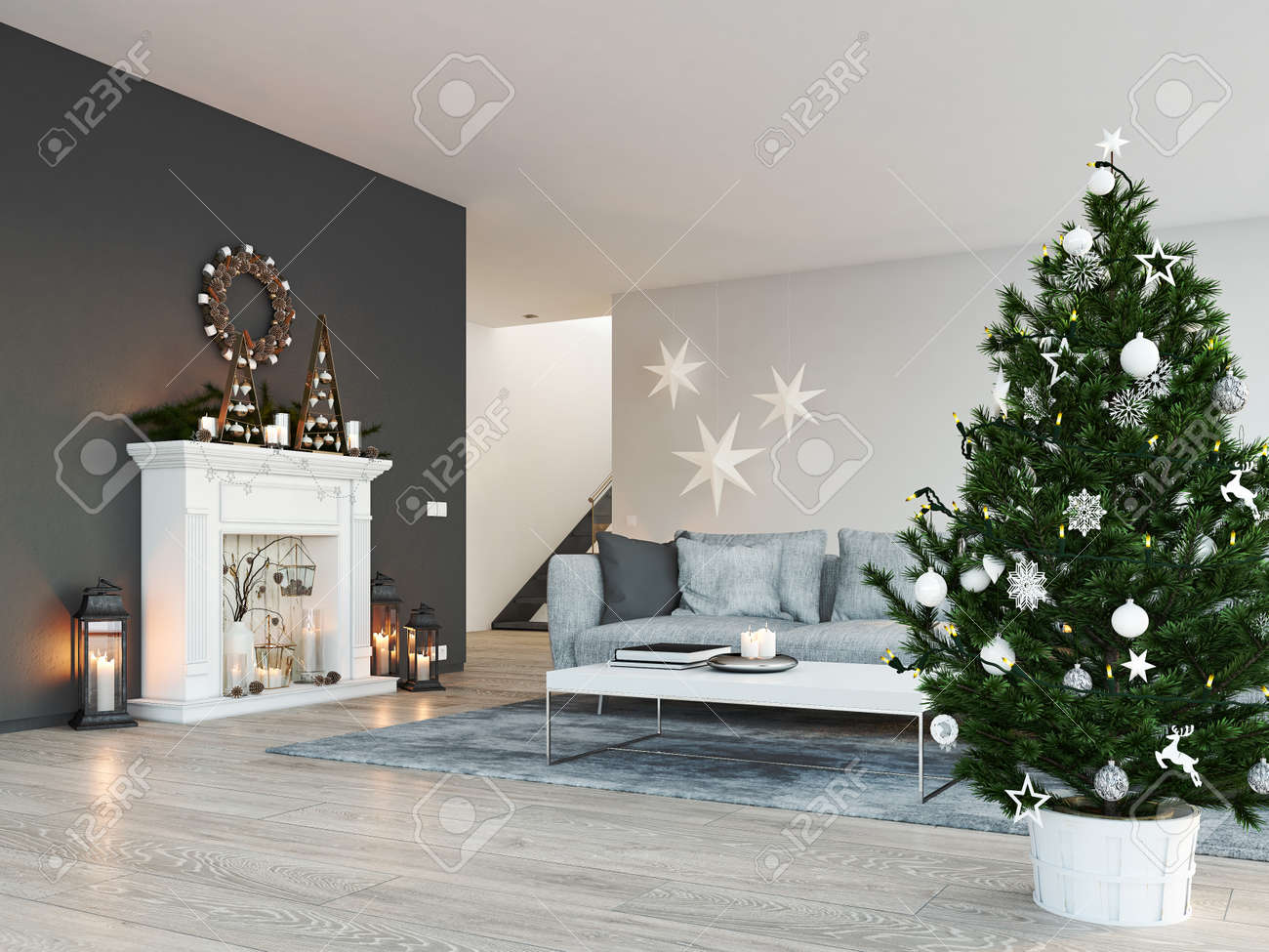 D rendering home with fireplace in modern apartment christmas