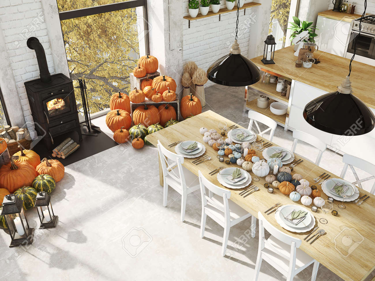 top view nordic kitchen in an apartment. 3D rendering. thanksgiving concept. - 90091401
