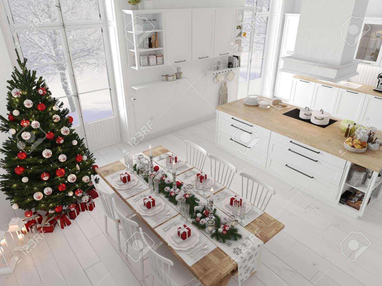 Cuisine nordique avec décoration de Noël par jour. Rendu 18D