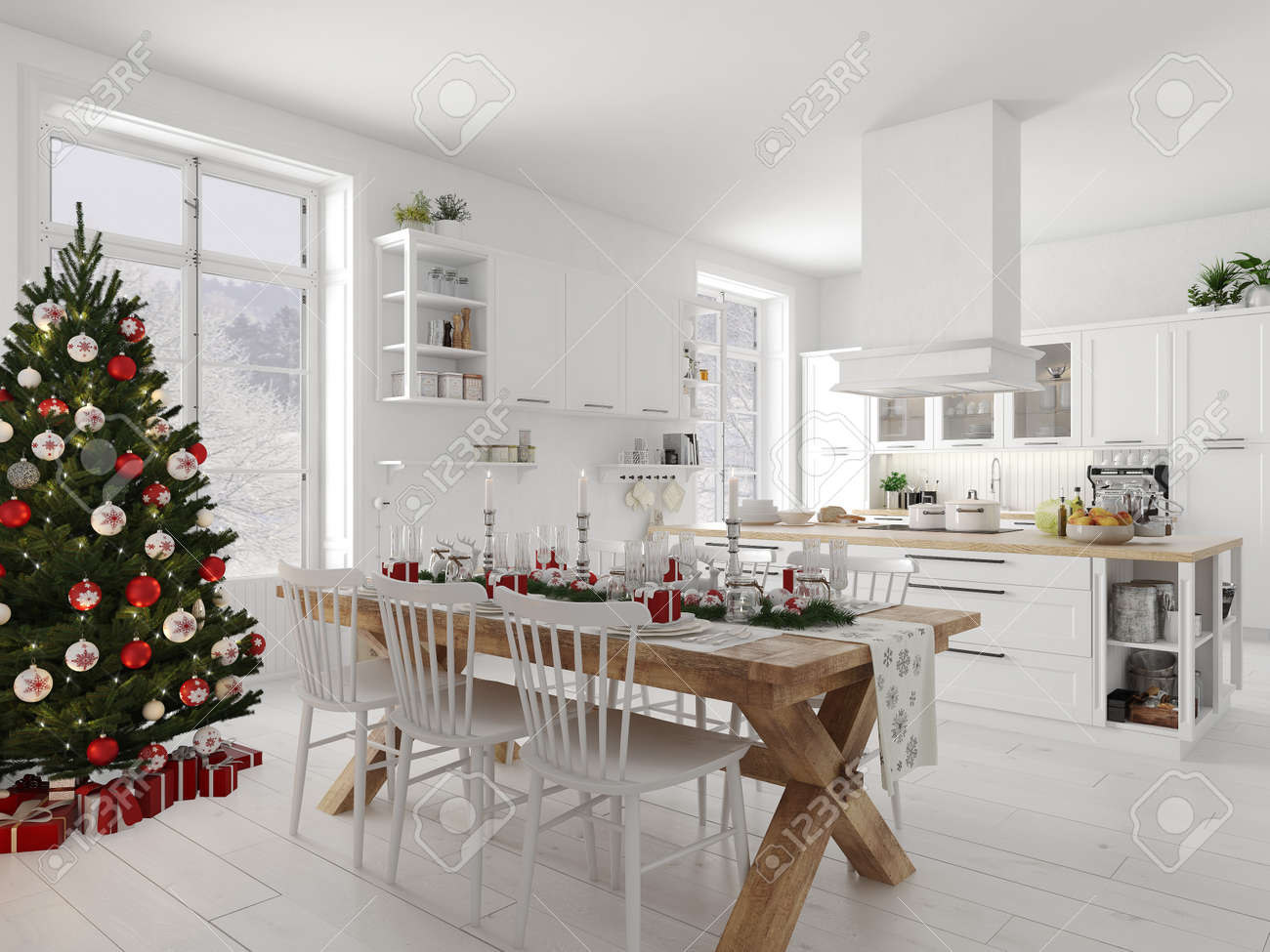 nordic kitchen with christmas decoration by day. 3d rendering - 91387472