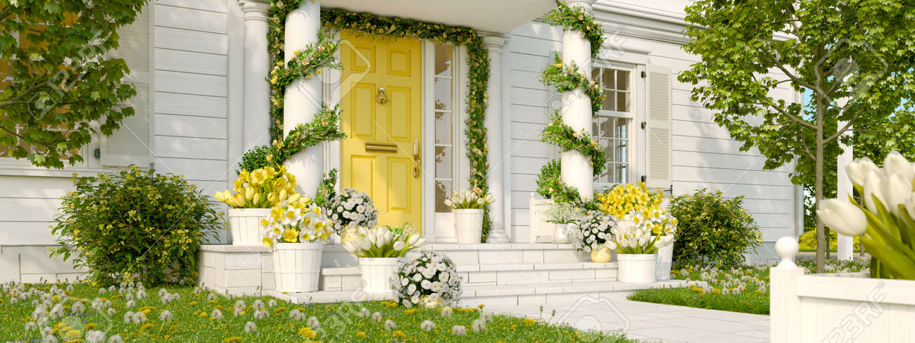 spring decorated porch with a lot of flowers. 3d rendering - 92880125
