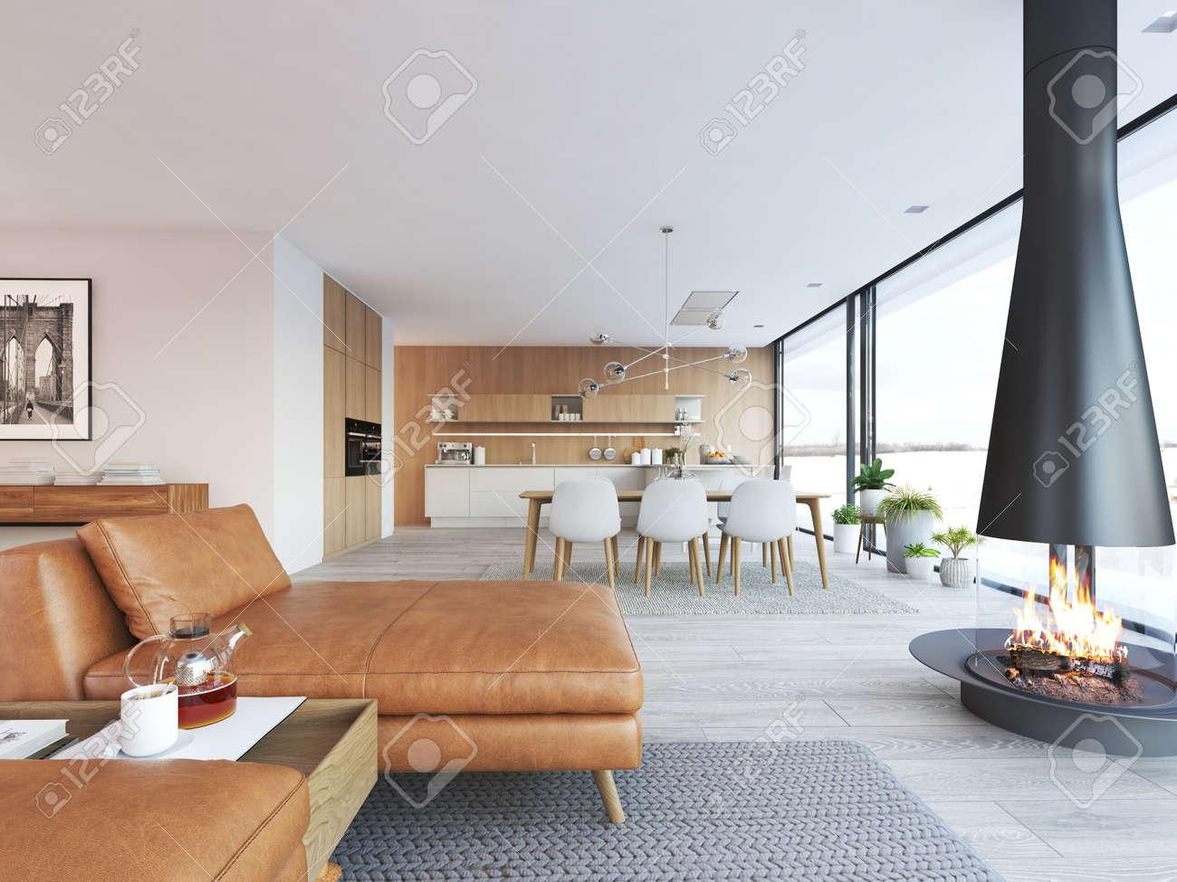 Modern design of loft apartment - 97480747