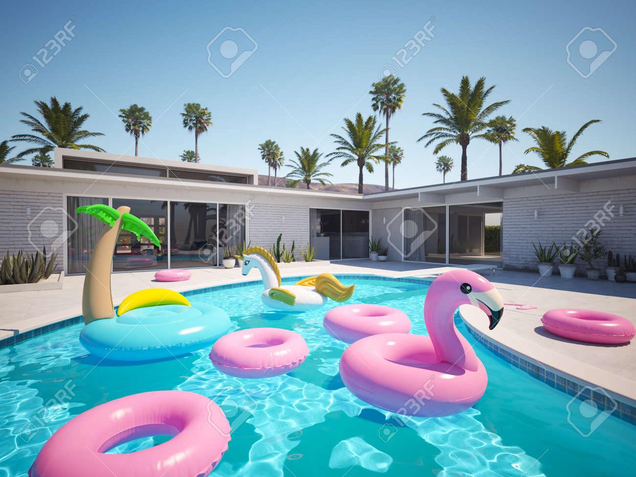 3D rendering. a lot of different floats in a pool - 101551823