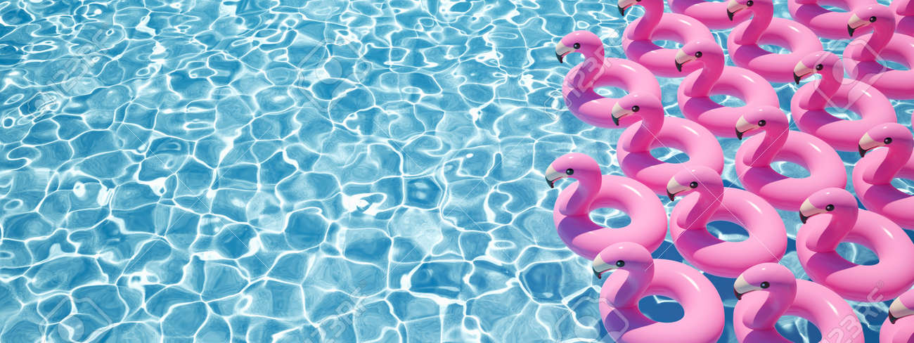 3D rendering. a lot of flamingo floats in a pool - 101750842