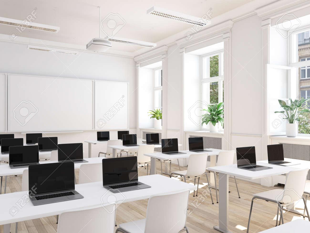 empty school classroom. 3d rendering - 102554551