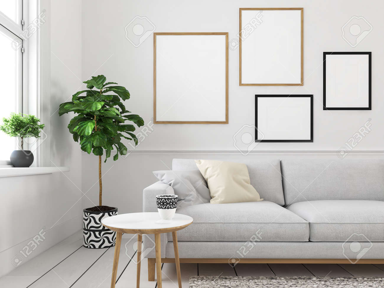 Living Room With Empty Picture Frames 3d Rendering Stock Photo Picture And Royalty Free Image Image 102632425