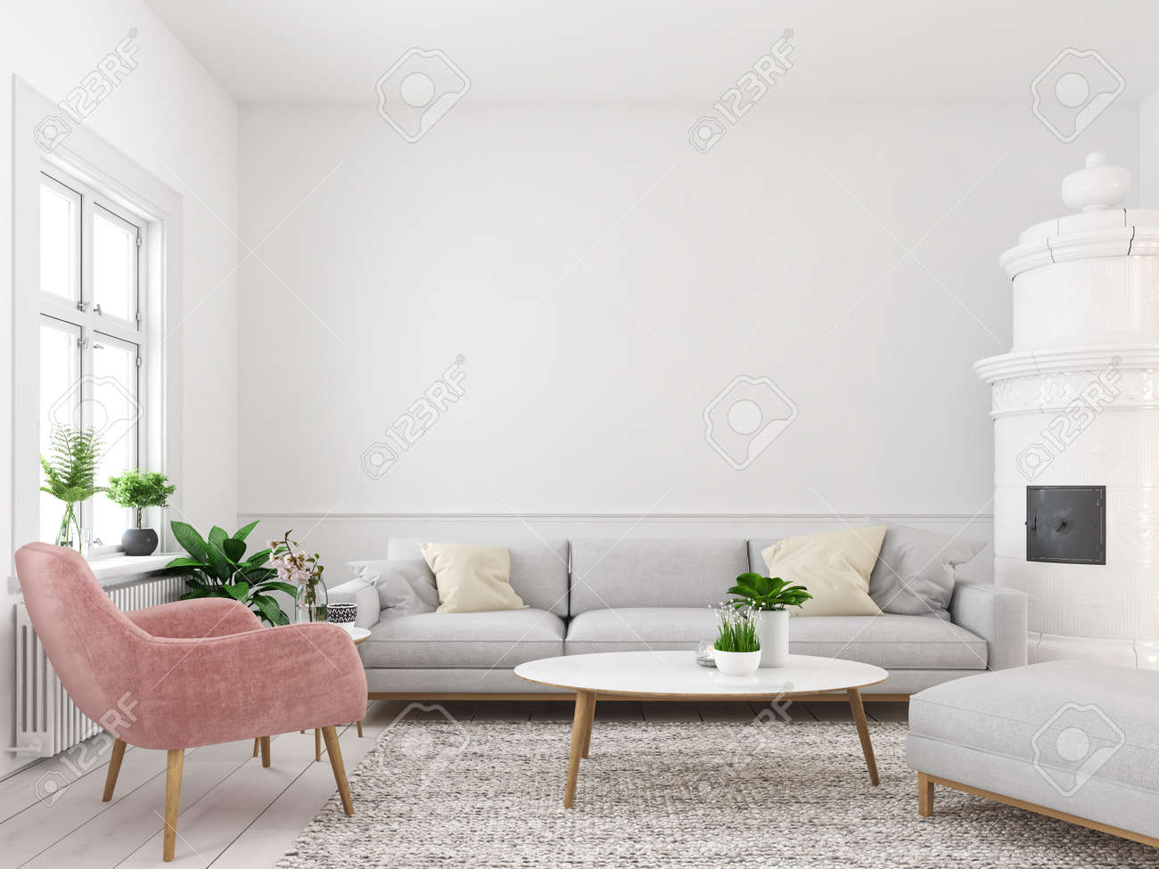 . living room with empty wall for picture frames  3d rendering
