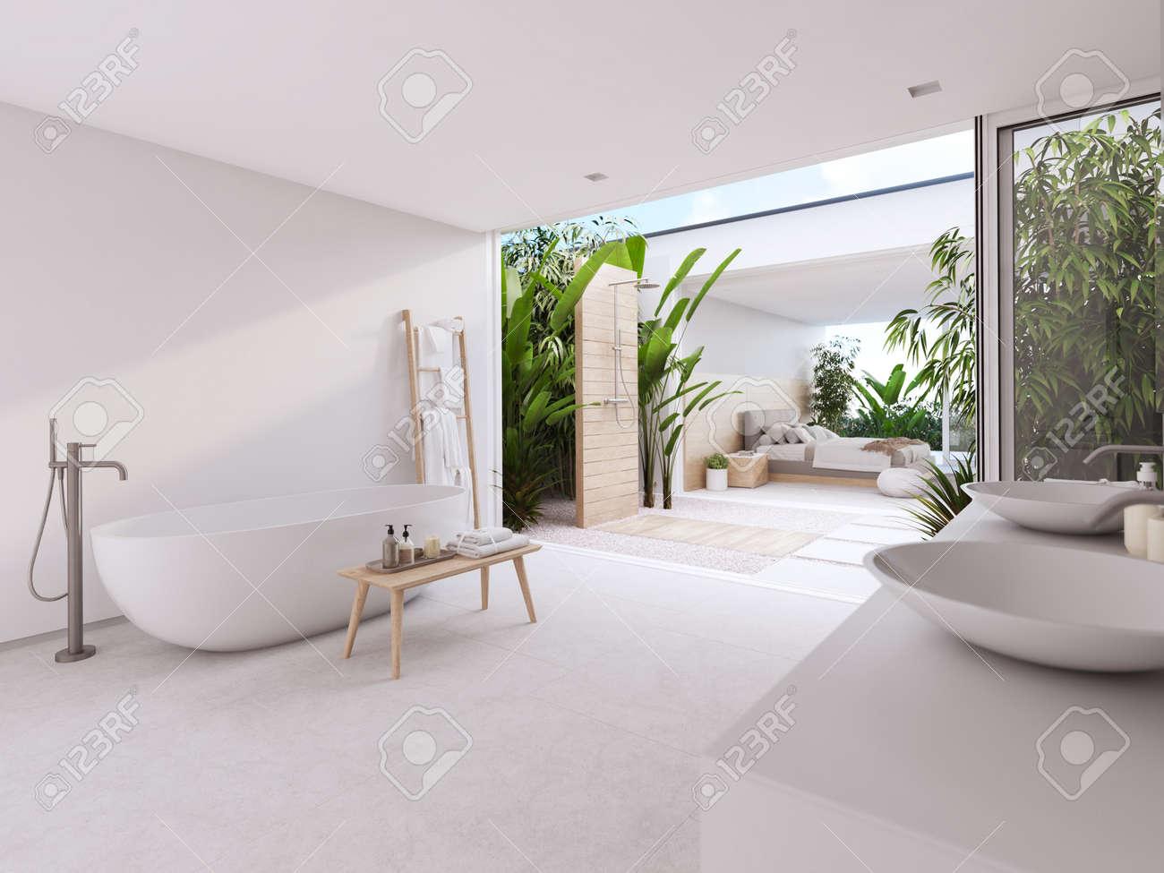 new modern zen bathroom with tropic plants. 3d rendering on bathroom with black accents, modern bathroom interior design, powder room interior design,