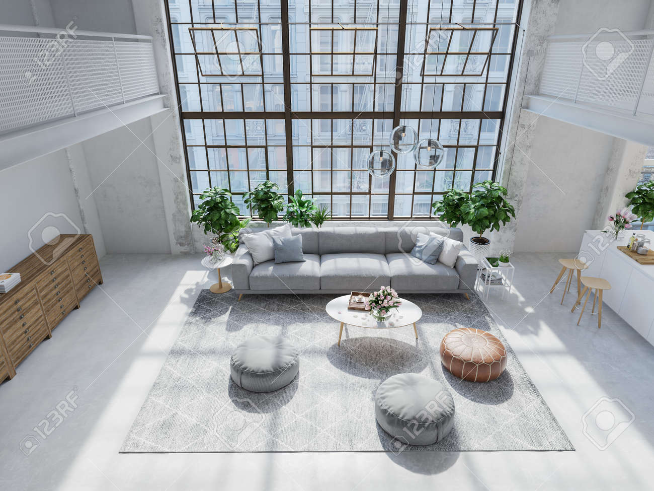 New Modern City Loft Apartment 3d Rendering Stock Photo Picture And Royalty Free Image Image 120319919