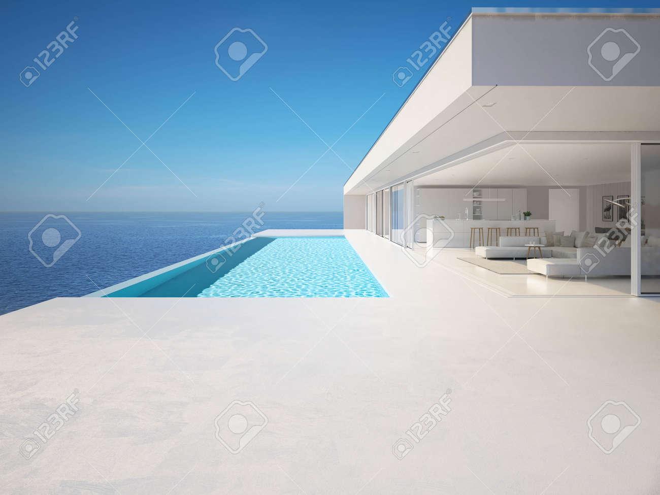 3D-Illustration. modern luxury summer villa with infinity pool - 120319948