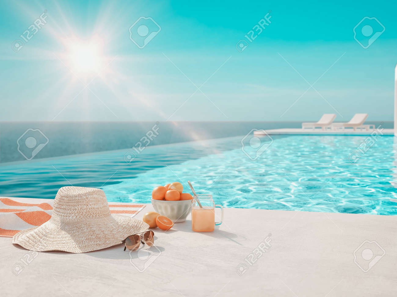 3D-Illustration. modern luxury infinity pool with summer accessoires - 124853992