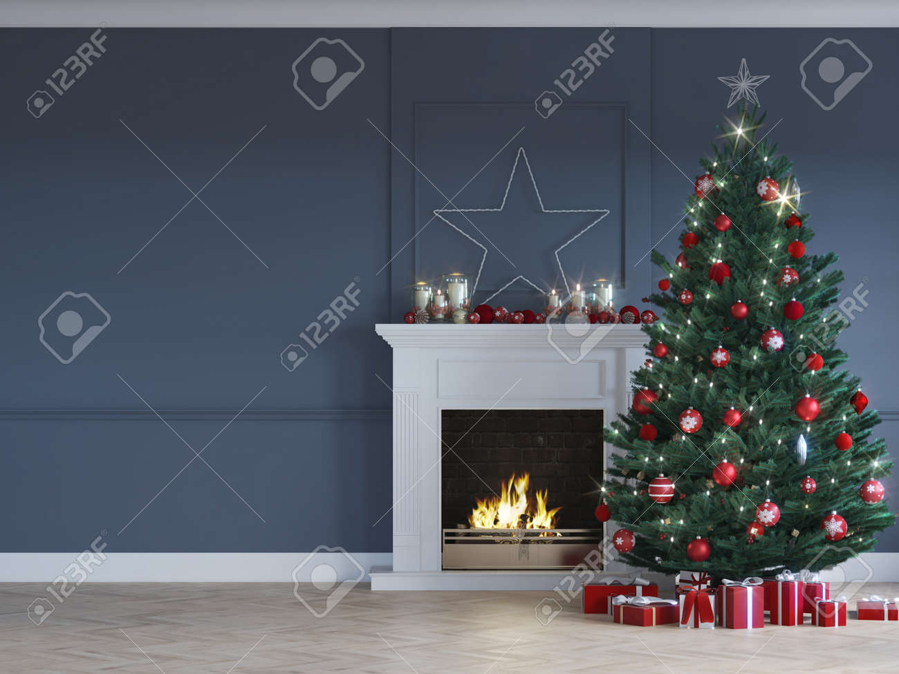 3D-Illustration. christmas scene with decorated tree and fireplace. - 133982547