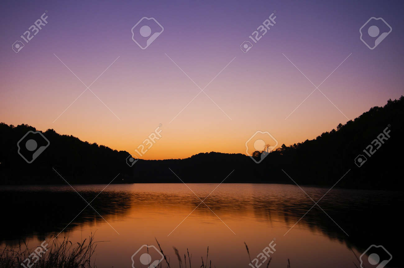 beautiful sunset lake and mountain Stock Photo - 15205818