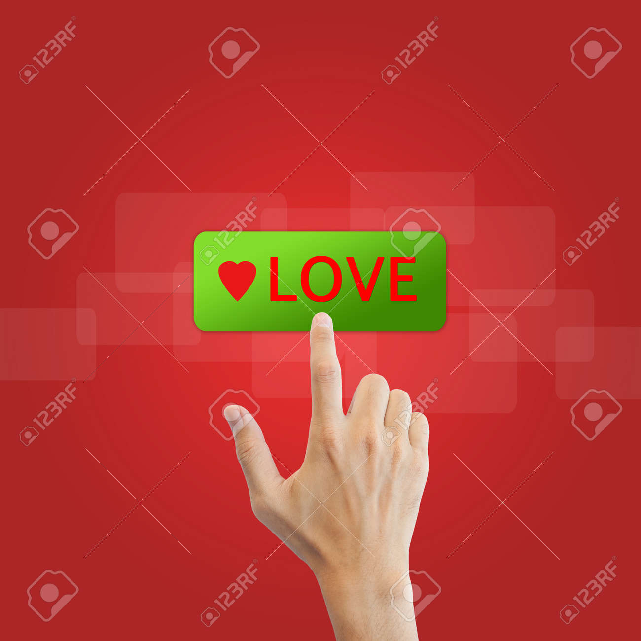 love button with real hand on red background Stock Photo - 17886772