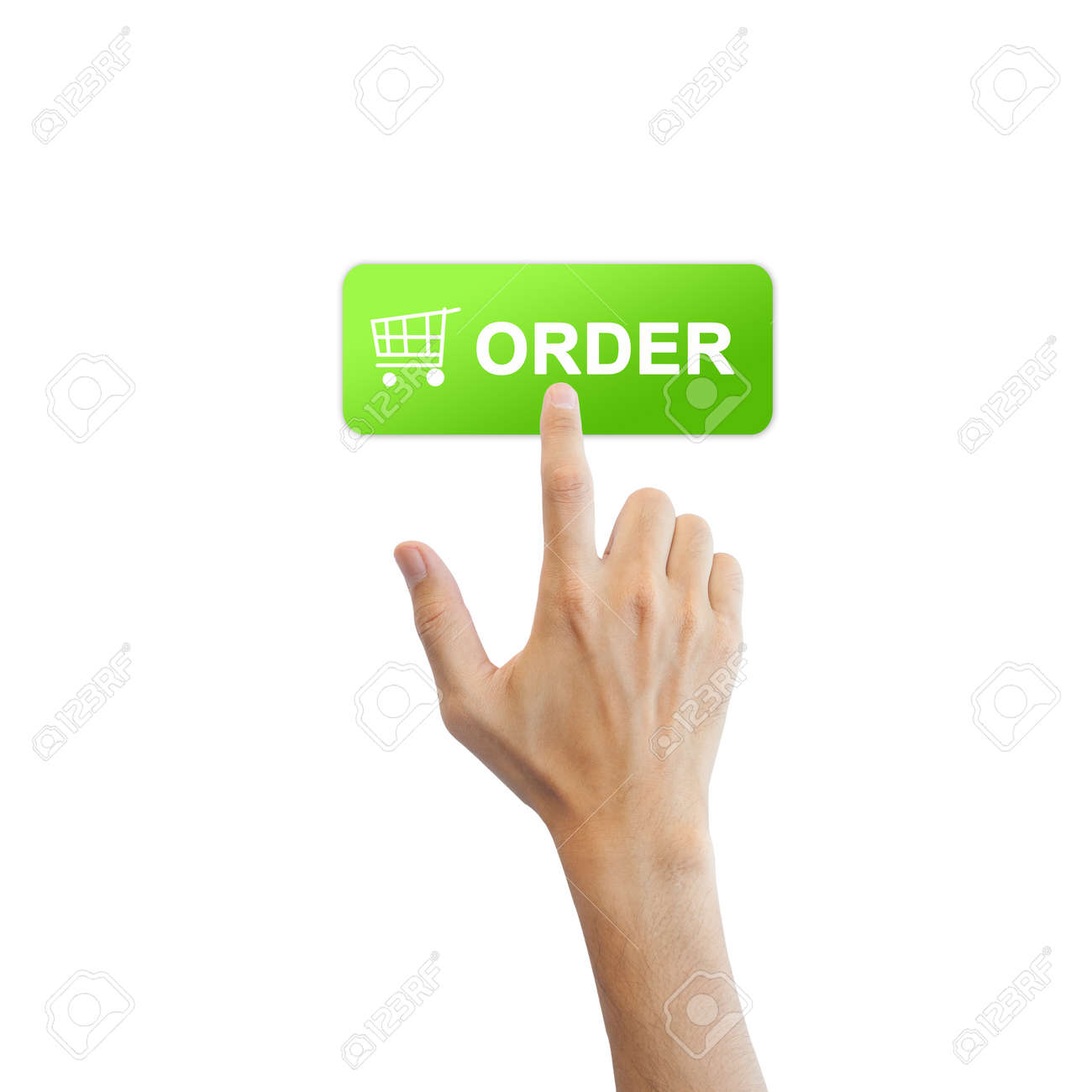 Order button with real hand isolated on white background Stock Photo - 17886788