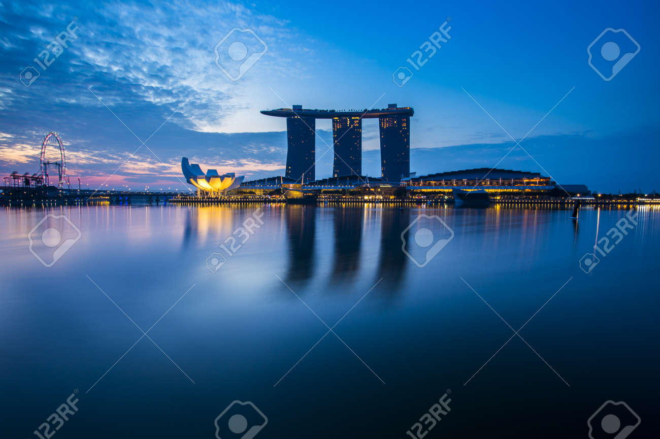 Marina Bay view with twilight Singapore - 48046386