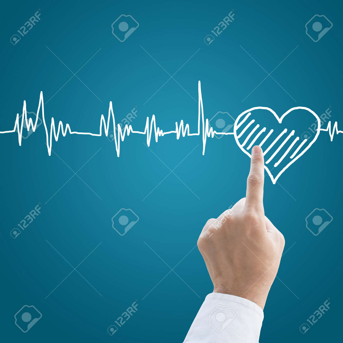 Hand medical with heart pulse Stock Photo - 26764807