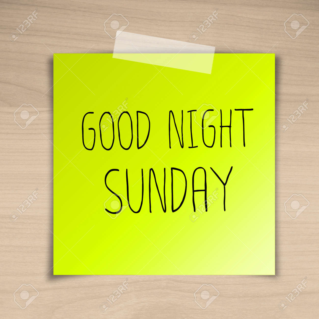 Good Night Sunday Sticky Paper On Brown Wood Background Texture
