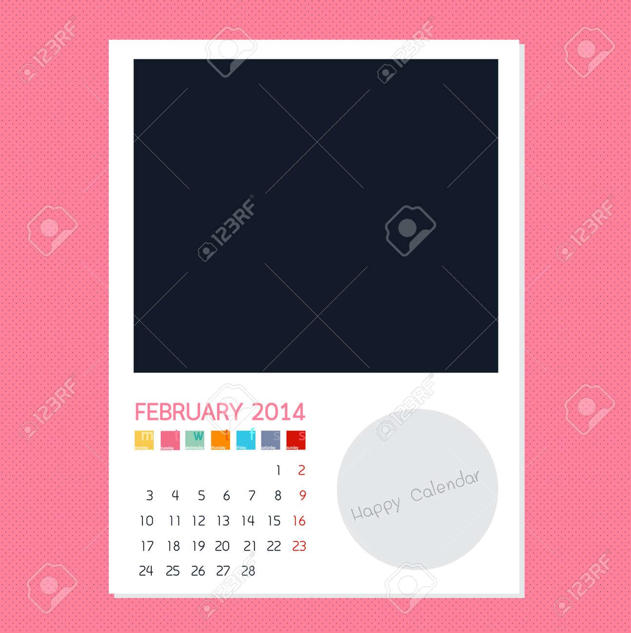 Calendar February 2014, Photo frame background Stock Vector - 28650855