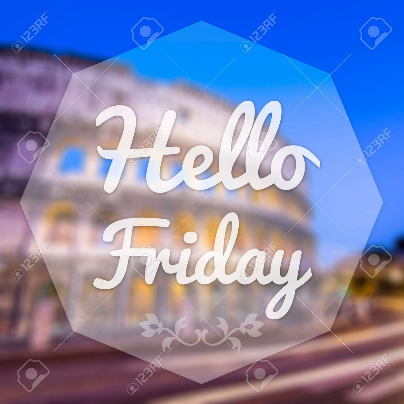 Good Morning Friday On Blur Background Greeting Card Stock Photo