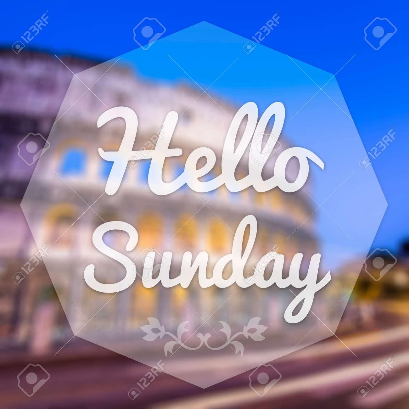 Good Morning Sunday On Blur Background Greeting Card Stock Photo