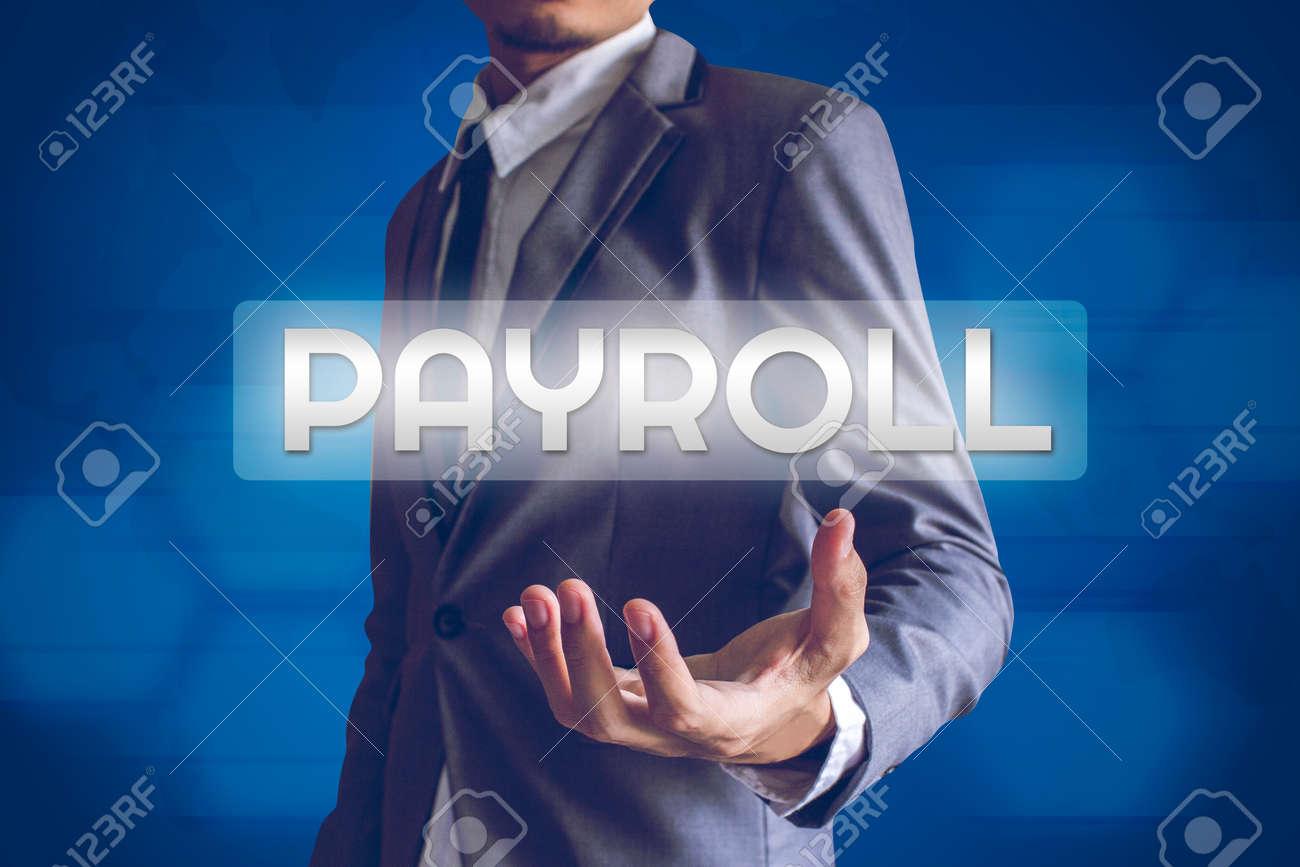 Businessman or Salaryman with Payroll text modern interface concept. - 36925542